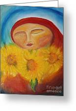 Sunflower Madonna Greeting Card by Teresa Hutto