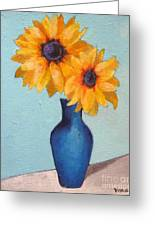 Sunflowers In A Blue Vase Greeting Card by Venus