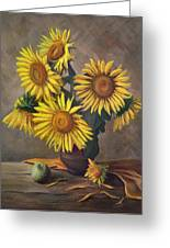 Sunflowers In Vase Greeting Card by Gynt Art