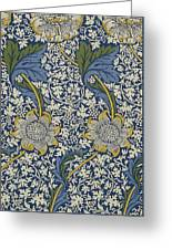 Sunflowers On Blue Pattern Greeting Card by William Morris