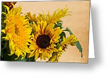 Sunflowers On Old Paper Background Greeting Card by Valerie Garner
