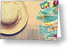 Sunhat And Postcards Greeting Card by Amanda And Christopher Elwell