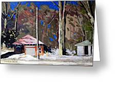 SUNLIGHT on the GOLF SHEDS series No.6 Greeting Card by Charlie Spear