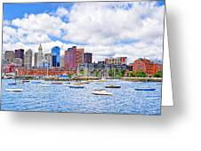 Sunny Afternoon On Boston Harbor Greeting Card by Mark Tisdale