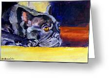 Sunny Patch French Bulldog Greeting Card by Lyn Cook