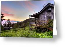 Sunrise At Mt Leconte Greeting Card by Debra and Dave Vanderlaan
