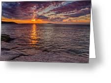 Sunrise Drama Acadia National Park Greeting Card by Jeff Sinon