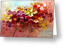 Sunrise Flowers - Abstract Oil Painting Original Modern Contemporary Art House Wall Deco Greeting Card by Emma Lambert