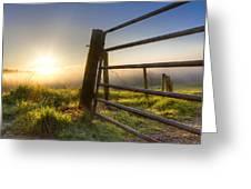 Sunrise  Gate Greeting Card by Debra and Dave Vanderlaan