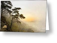 Sunrise In The Mist - D004200a-a Greeting Card by Daniel Dempster