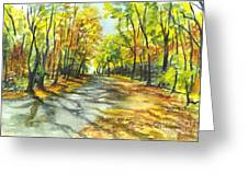 Sunrise On A Shady Autumn Lane Greeting Card by Carol Wisniewski