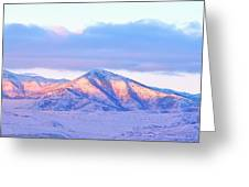 Sunrise On Snow Capped Mountains Greeting Card by Tracie Kaska