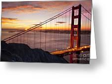 Sunrise Over The Golden Gate Bridge Greeting Card by Brian Jannsen