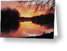 Sunrise Over The Little Arkansas River Greeting Card by David Stevenson