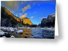Sunrise Yosemite Valley Greeting Card by Peter Dang