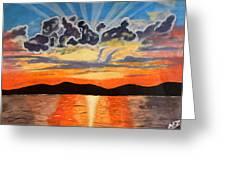 Sunset  Greeting Card by Abhinav Krishna Dwivedi