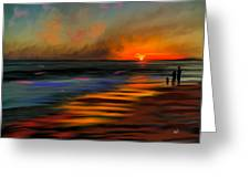 Sunset At Capo Beach In California Greeting Card by Angela A Stanton