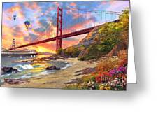 Sunset At Golden Gate Greeting Card by Dominic Davison