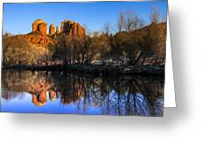 Sunset At Red Rocks Crossing In Sedona Az Greeting Card by Teri Virbickis