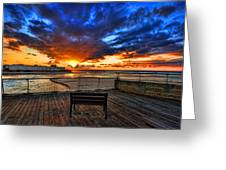 sunset at the port of Tel Aviv Greeting Card by Ron Shoshani