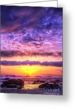 Sunset At Treasure Cove Greeting Card by Eddie Yerkish