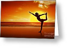 Sunset Beach Yoga Greeting Card by M and L Creations