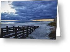 Sunset Boardwalk Greeting Card by Michael Thomas