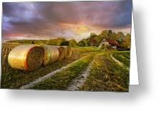 Sunset Farm Greeting Card by Debra and Dave Vanderlaan