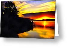 Sunset In Balaton Lake Greeting Card by Odon Czintos
