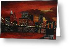Sunset In New York Greeting Card by Denisa Laura Doltu