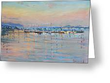 Sunset In Piermont Harbor Ny Greeting Card by Ylli Haruni