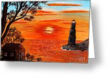 Sunset Lighthouse Greeting Card by Barbara Griffin