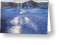 Sunset Near Myrtos Beach Kefalonia Greeting Card by Robina Osbourne