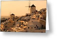 Sunset Oia Santorini Greeting Card by Saul Moreno