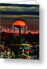 Sunset On A Charlotte Water Tower By Diana Sainz Greeting Card by Diana Sainz