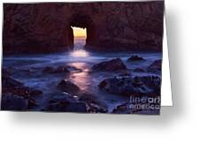Sunset On Arch Rock In Pfeiffer Beach Big Sur In California. Greeting Card by Jamie Pham