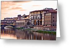 Sunset on Ponte Vecchio in Florence Greeting Card by Susan  Schmitz