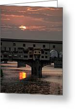 Sunset On The Arno River Greeting Card by Melany Sarafis