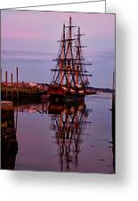 Sunset On The Friendship Of Salem Greeting Card by Jeff Folger