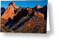 Sunset On The Kolob Canyon Rocks Zion National Park Utah Greeting Card by Robert Ford