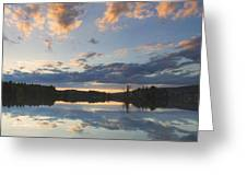 Sunset Over Flying Pond In Vienna Maine Greeting Card by Keith Webber Jr