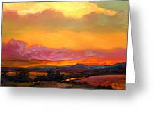 Sunset Over Green Mountains Greeting Card by Mike Savlen