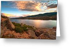 Sunset Over Horsetooth Greeting Card by Preston Broadfoot