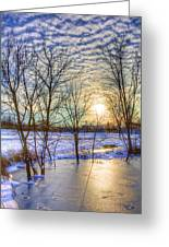 Sunset Over Ice Greeting Card by William Wetmore