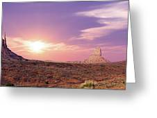Sunset Over Mountain Valley Greeting Card by Aged Pixel