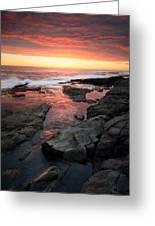 Sunset Over Rocky Coastline Greeting Card by Johan Swanepoel