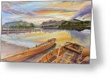 Sunset Over Serenity Lake Greeting Card by Mary Ellen Anderson