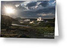 Sunset Over The Firehole River - Yellowstone Greeting Card by Sandra Bronstein