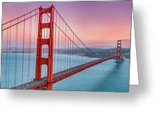 Sunset Over The Golden Gate Bridge Greeting Card by Sarit Sotangkur