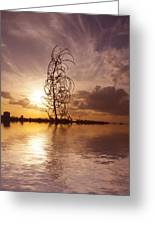 Sunset Over The Lake Greeting Card by David French